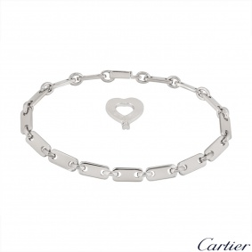 Cartier White Gold Heart Key Link Bracelet